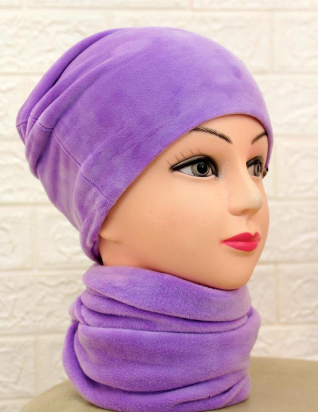 Женский набор шапка и хомут из велюра