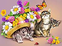 """Принт для вышивки лентами на габардине """"Котята с цветами"""""""