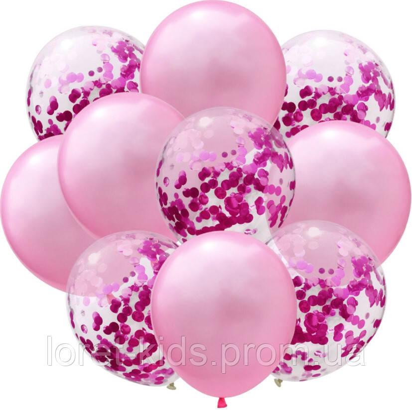 """Набор шаров с конфетти """"Розовый микс"""""""