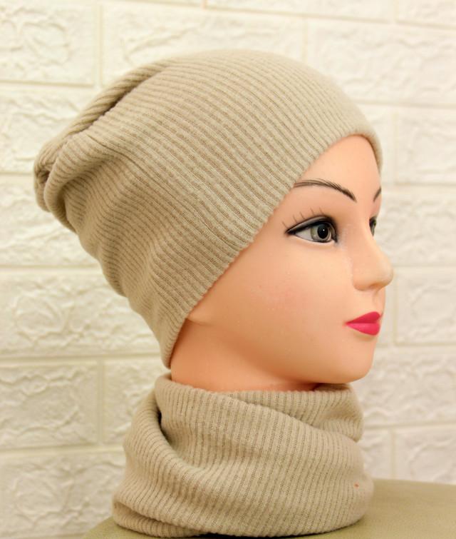 Женская шапка-чулок и хомут из ангоры рубчик