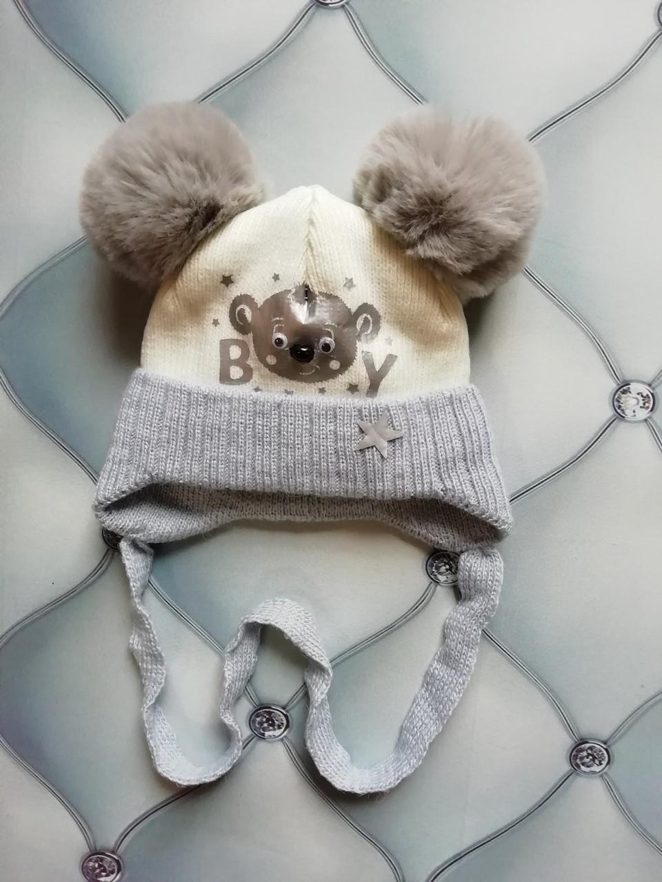 Вязаная шапка для новорожденного мальчика на махре Мишка Boy, р. 36-38, серая с белым