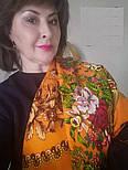 Белые розы 373-0, павлопосадский платок (шаль) из уплотненной шерсти с шелковой вязанной бахромой, фото 7