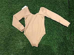 Боди купальник трико гимнастический для танцев балета бежевый, фото 2