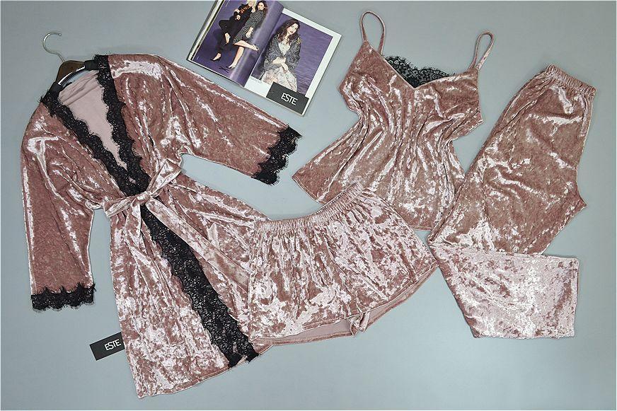 Комплект домашней одежды халат и пижама тройка ( майка штаны шорты).