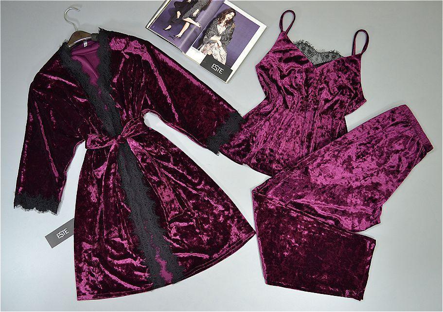 Халат и пижама( майка штаны). Велюровый комплект домашней одежды.