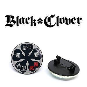 "Значок Черный клевер ""Chinese symbols"" / Black Clover"