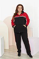 Жіночий стильний теплий спортивний костюм з капюшоном Батал