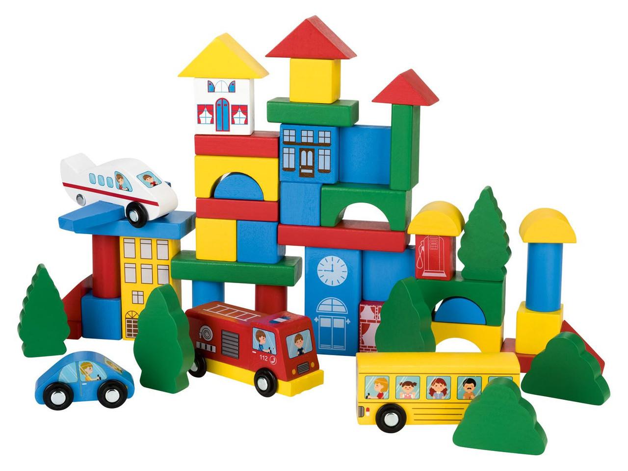 Сортер деревянный конструктор Play tive разноцветный город 50 элементов в ведерке