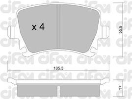Колодки тормозные AUDI A4, SEAT, SKODA,VW задние (Cifam). 822-553-0