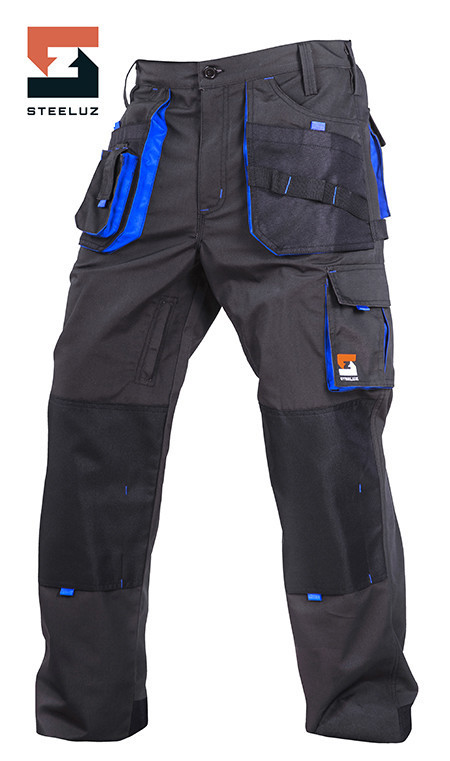 Брюки защитные рабочие SteelUZ Темно-серый с синей отделкой, 40