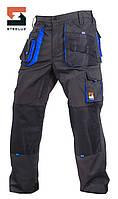 Брюки защитные рабочие SteelUZ Темно-серый с синей отделкой, 40, фото 1