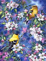 """Принт для вышивки лентами на габардине """"Птички в цветах"""""""