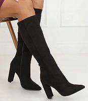 Замшевые женские сапоги до колена на каблуке, фото 1