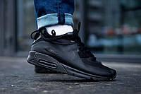 Nike Air Max 90 кроссовки мужские черные. Теплые кроссы для парней Найк Аир Макс 90 в черном цвете
