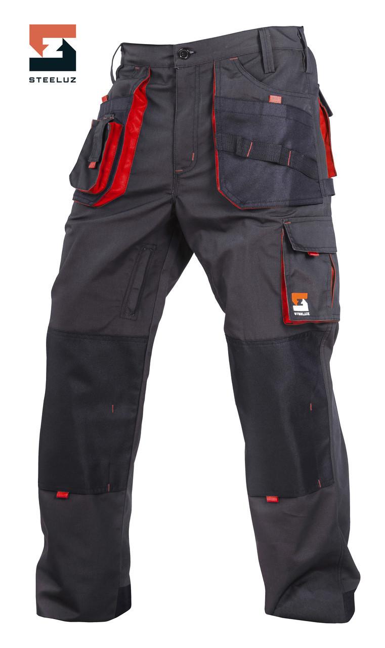 Брюки защитные рабочие SteelUZ Темно-серый с красной отделкой, 40