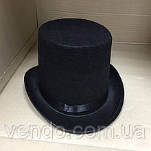 Шляпа карнавальная цилиндр черная (фетр)