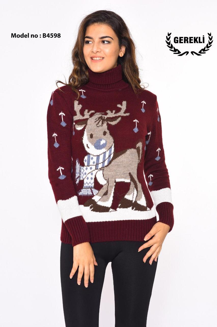 Женский турецкий свитер с оленем Gerekli 4598 (в расцветках 42-46)