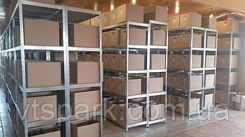 Стеллажи полочные БУ, паллетные стеллажи БУ, полочный оцинкованный стеллаж для склада офиса гаража