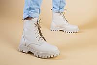 Кожаные зимние ботинки на шнурках беж