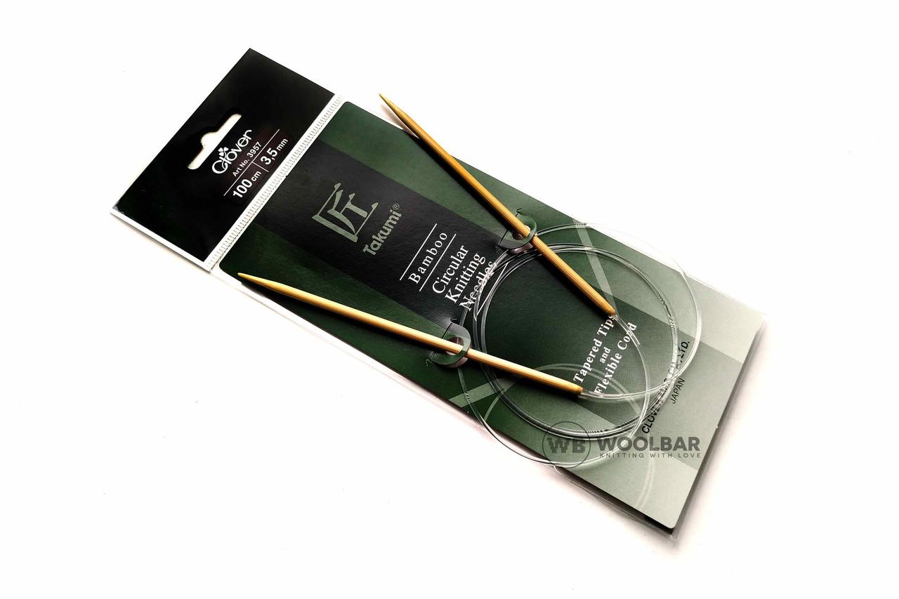 Clover - Takumi спицы круговые с удлиненным кон. бамбук, 100 см, 3.5 мм