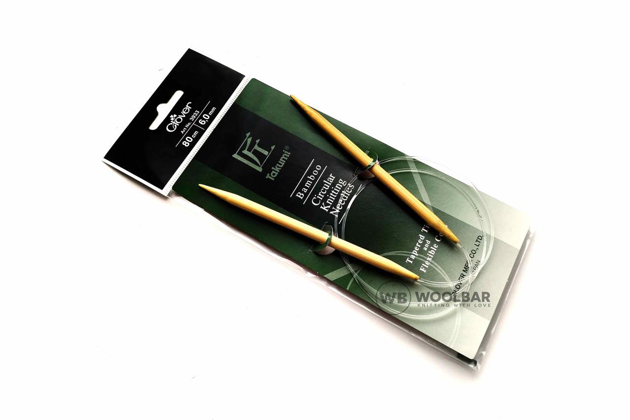 Clover - Takumi спицы круговые с удлиненным кон. бамбук, 80 см, 6 мм