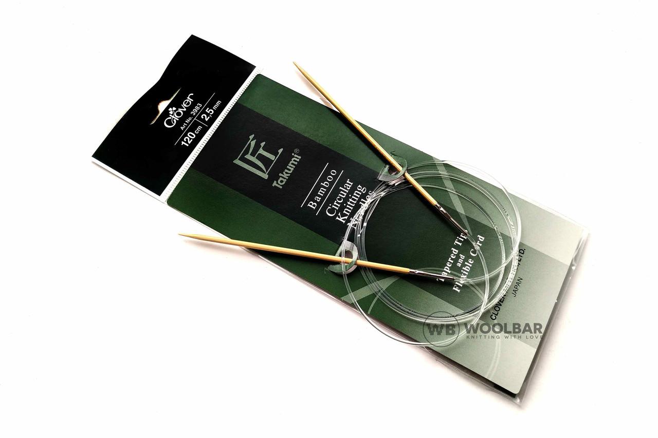 Clover - Takumi спицы круговые с удлиненным кон. бамбук, 120 см, 2.5 мм