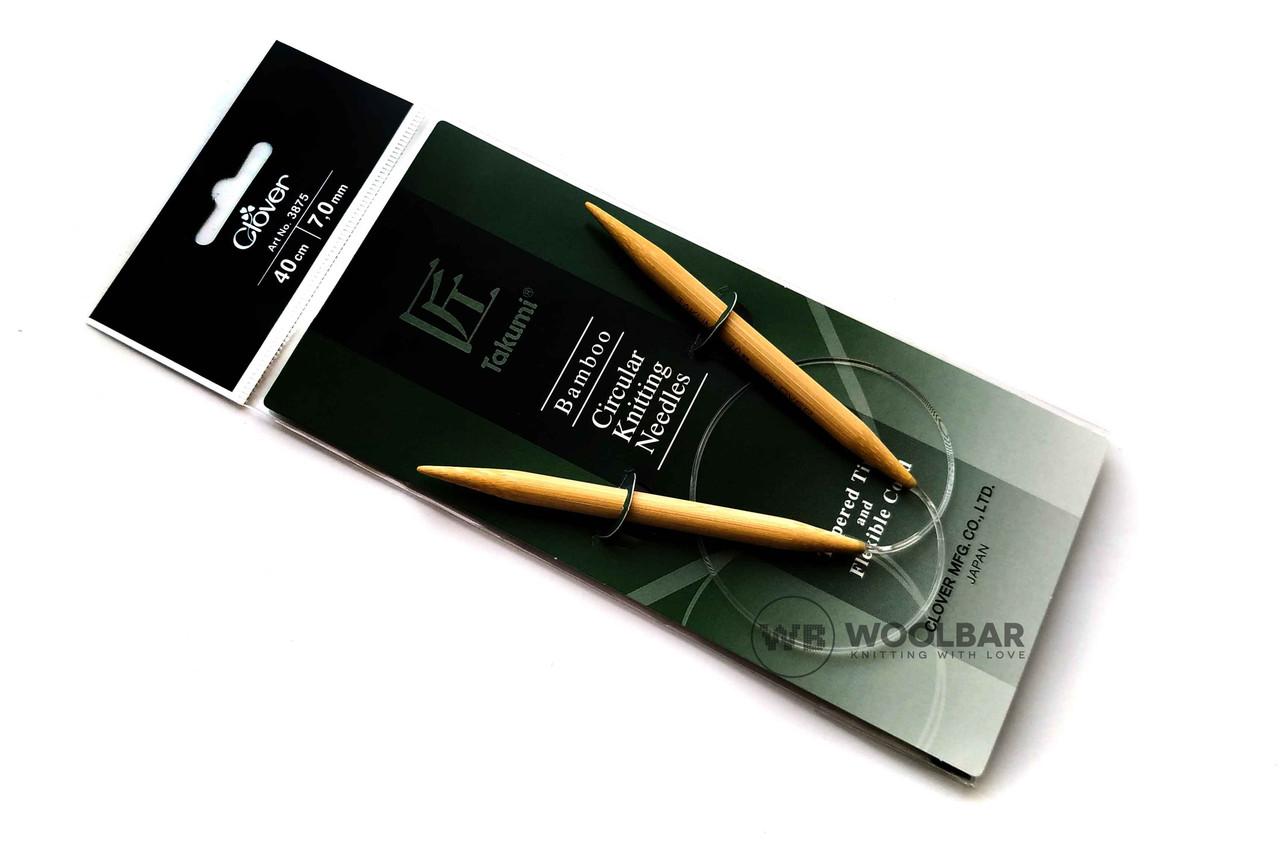 Clover - Takumi спицы круговые с удлиненным кон. бамбук, 40 см, 7 мм