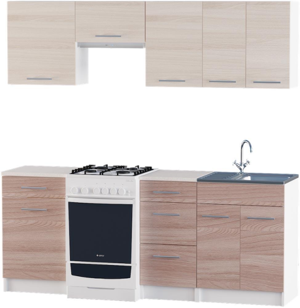 Кухня Эко набор 2.0 м ЭВЕРЕСТ Белый + Шимо светлый, фото 5