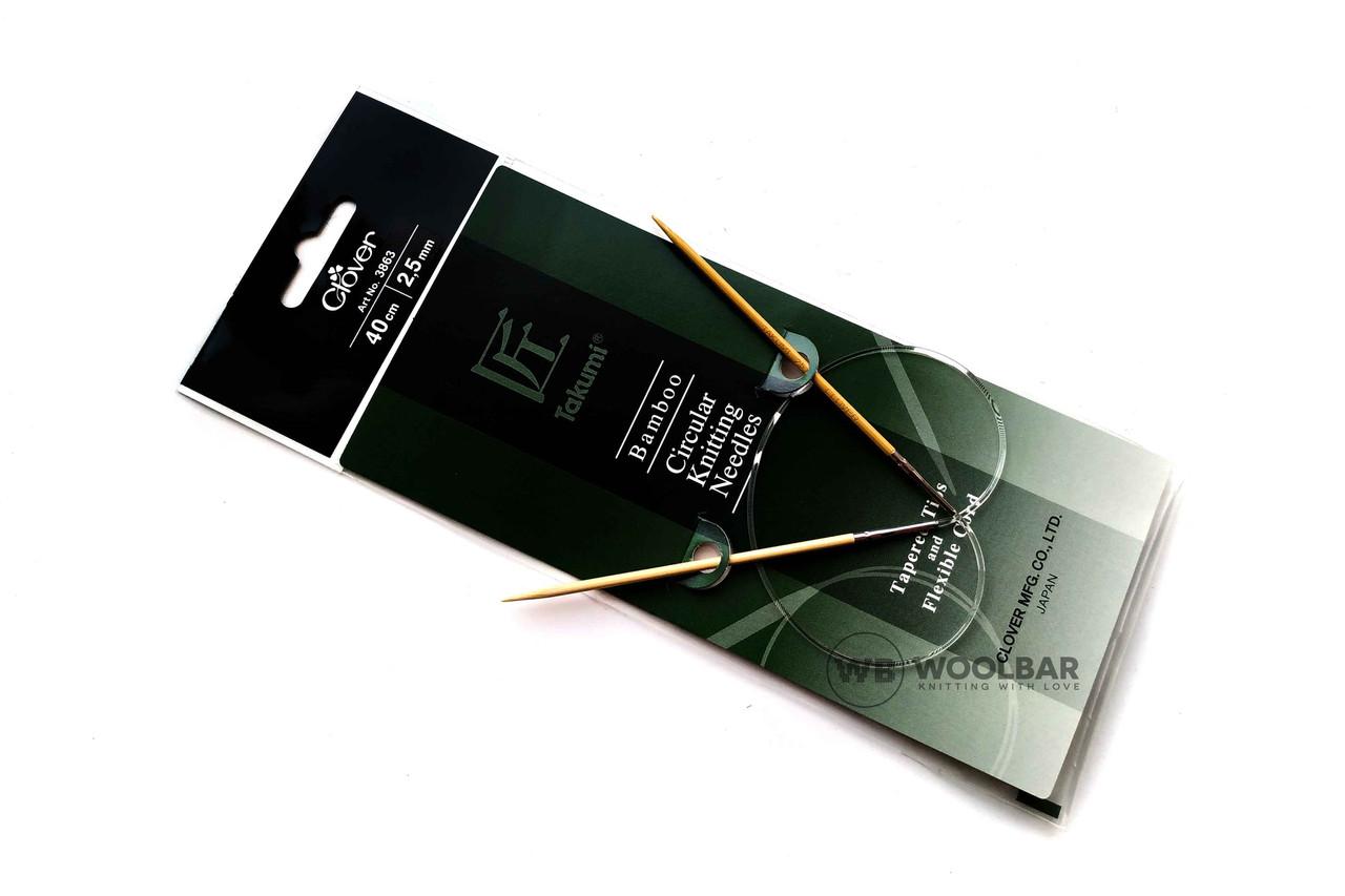 Clover - Takumi спицы круговые с удлиненным кон. бамбук, 40 см, 2.5 мм