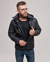Короткая стильная мужская зимняя куртка черная. Размер 48(M), 52(XL), 54(XXL)