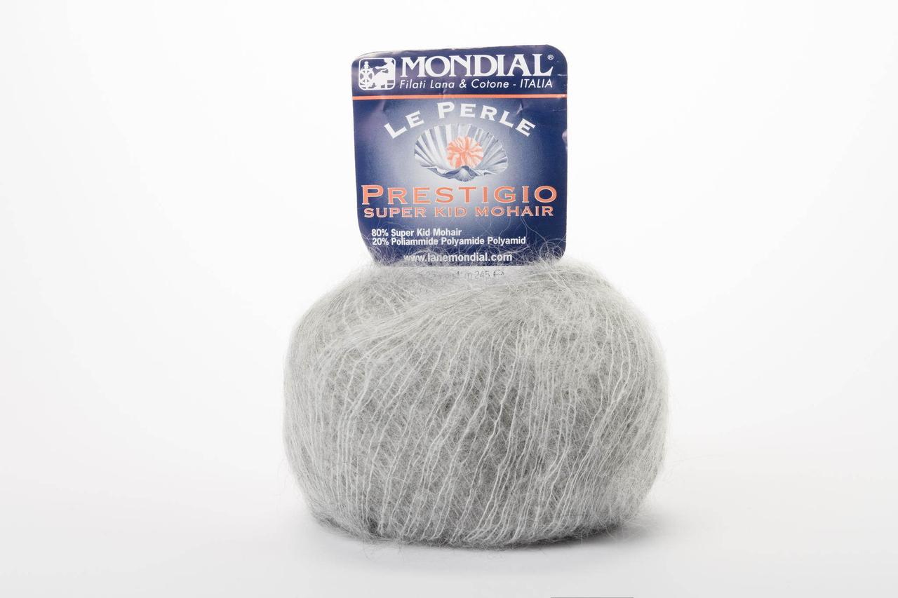 Пряжа Mondial Le Perle Prestigio 0700 светло-серый