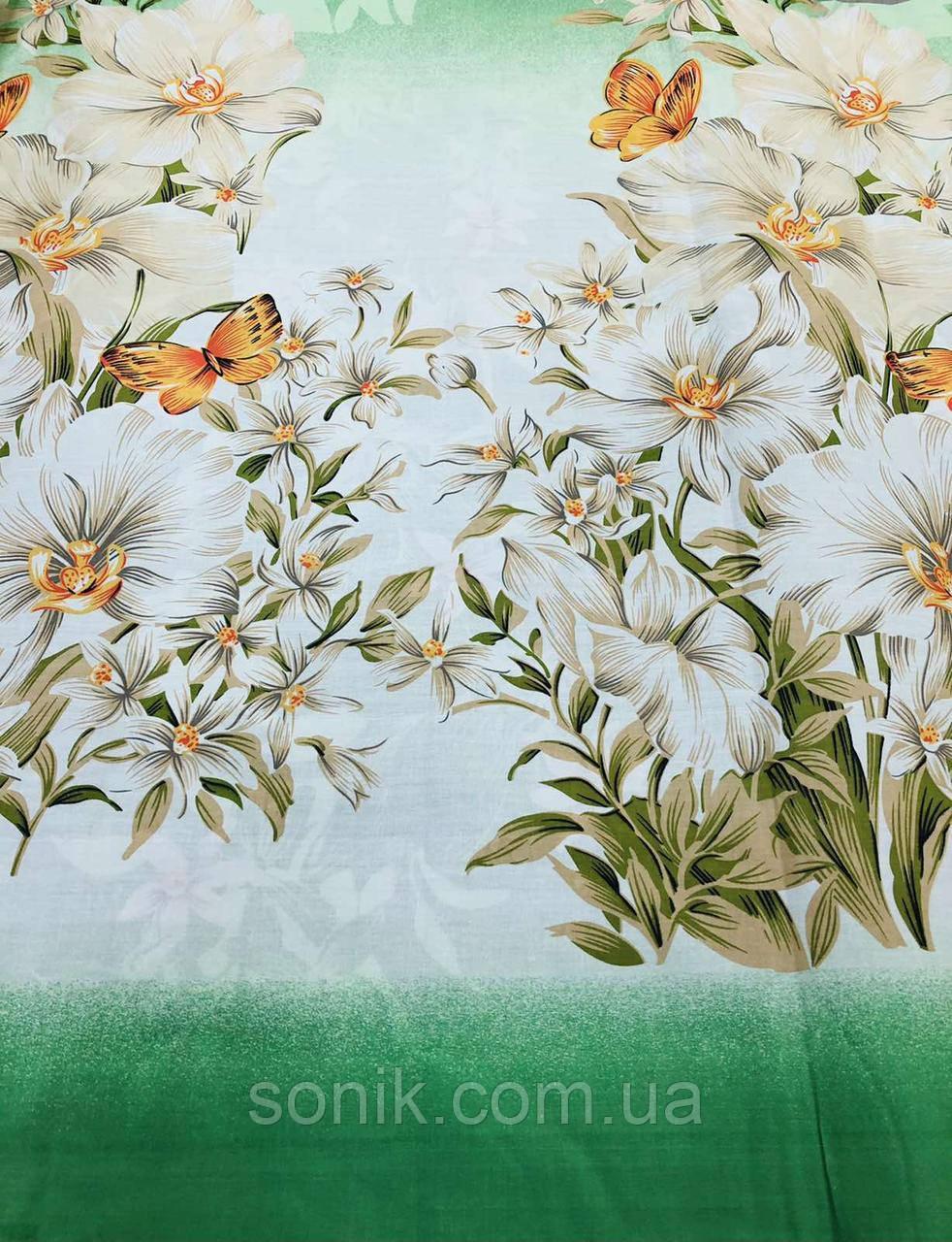 Ткань Бязь Gold Лилия на зелёном  220 см