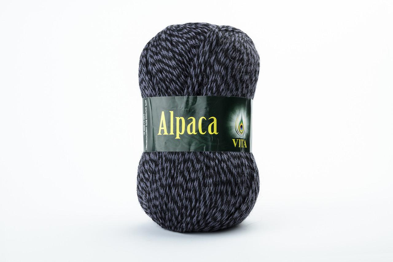 Пряжа Vita Alpaca wool 2989 черно-серый микс