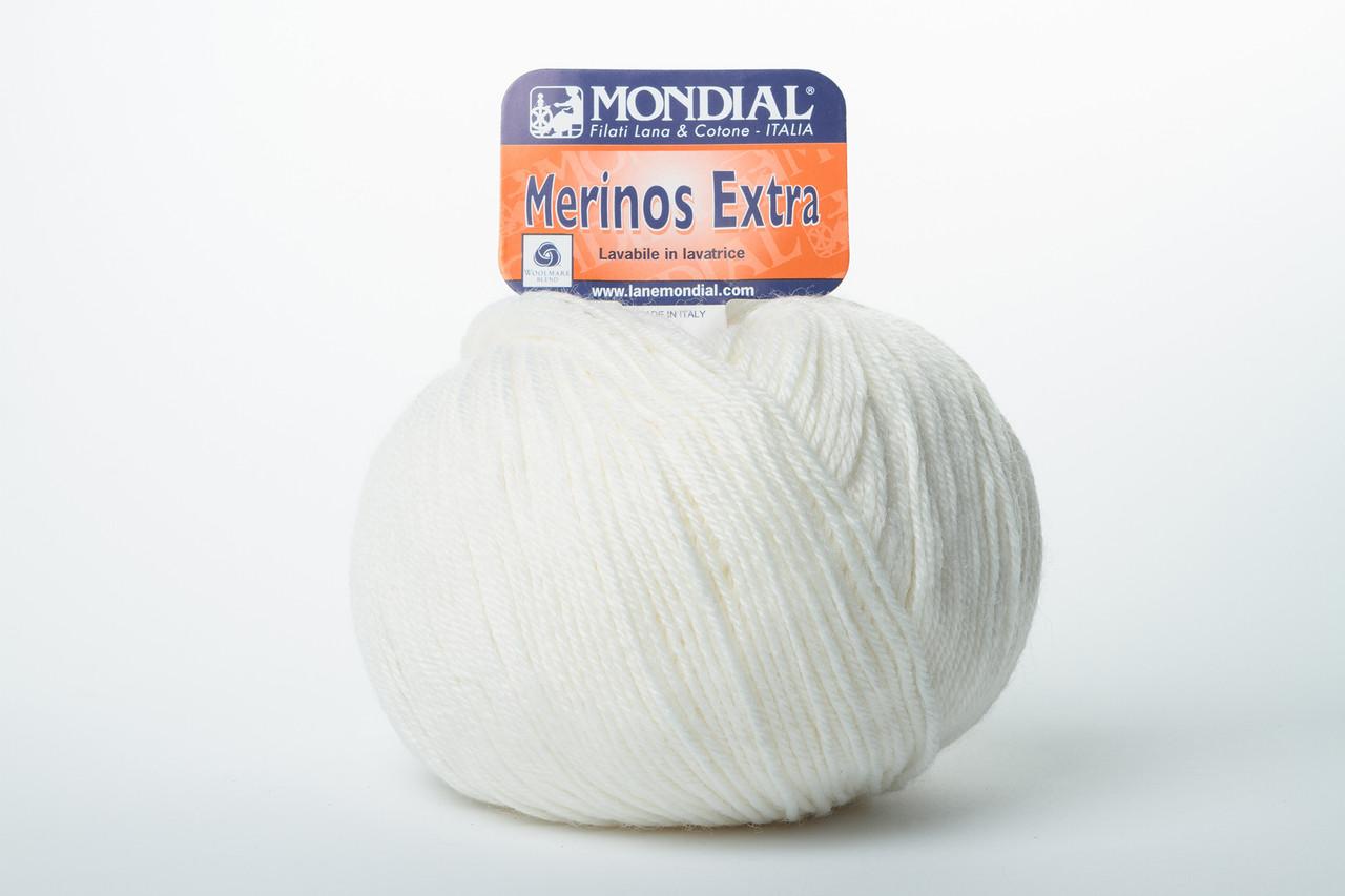 Пряжа Mondial Merinos Extra 0100 белый