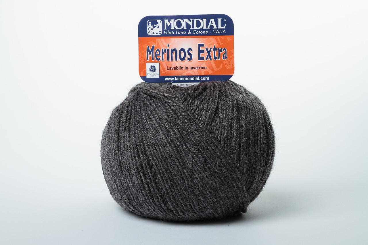 Пряжа Mondial Merinos Extra 0704 тёмно-серый