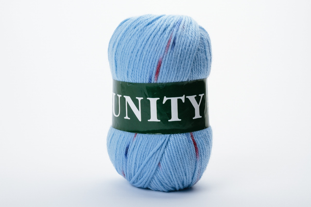Пряжа шерстяная Vita UNITY, Color No.2069 голубой+красный