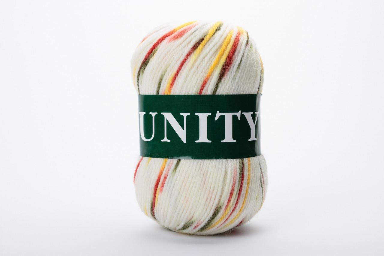 Пряжа шерстяная Vita UNITY, Color No.2070 белый+красный+желтый+зеленый