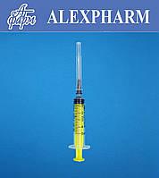 Шприц одноразовый 5мл 3-х компонентный, 22G 0,7*40мм, Luer, стерильный, ALEXPHARM (уп/120, ящ/2520 шт)