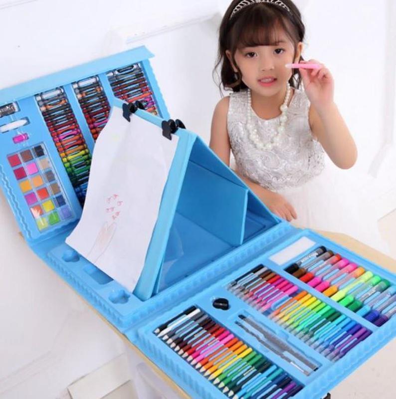Детский набор для рисования 208 предметов в удобном кейсе с ручкой + Мольберт Голубой