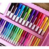 Детский набор для рисования 208 предметов в удобном кейсе с ручкой + Мольберт Голубой, фото 5
