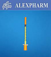 Шприц одноразовый инсулиновый 1мл U-100 с интегрированной иглой 30G 0,30*13мм (уп/180шт, ящ/3600шт) ALEXPHARM