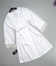 Шелковый халат на утро невесты белый с кружевом.