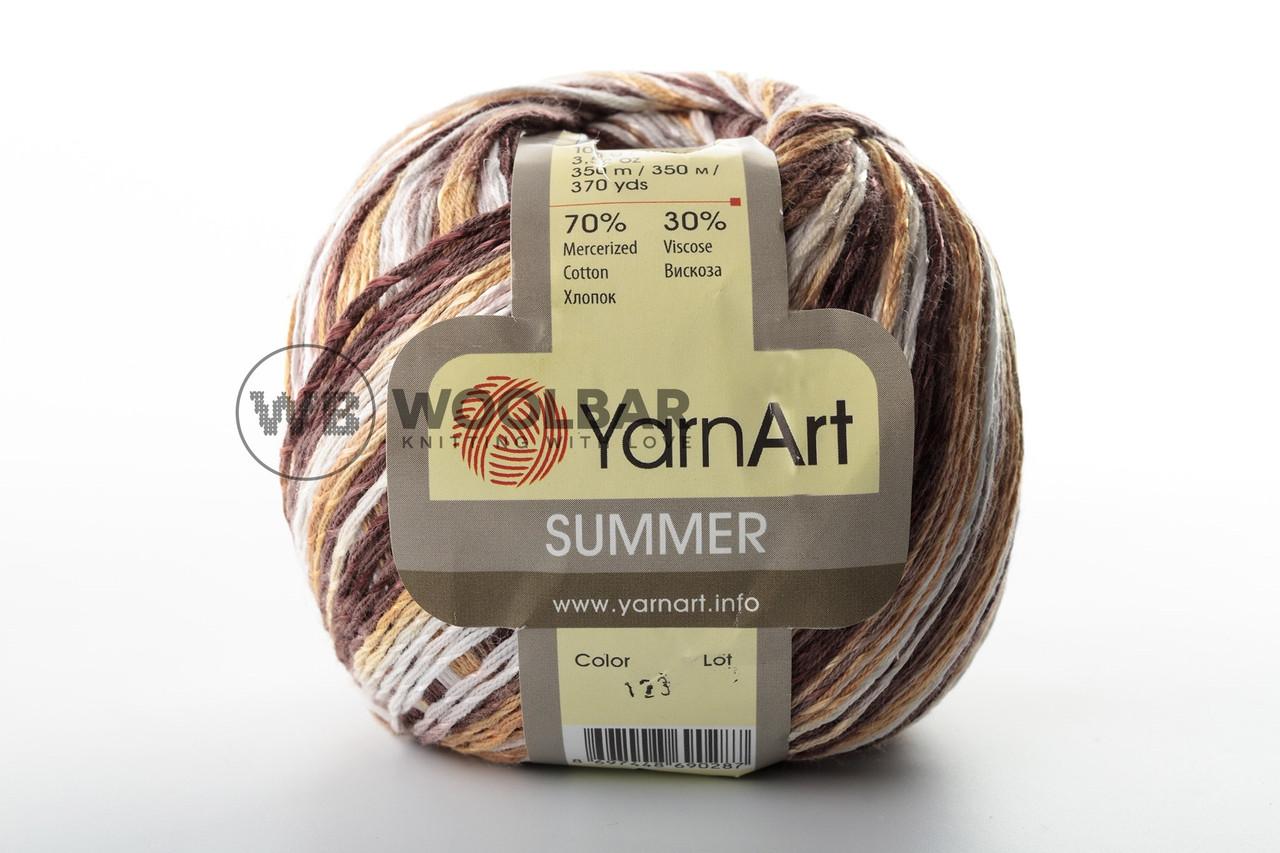 Пряжа YarnArt Summer 123 біло-коричневий меланж