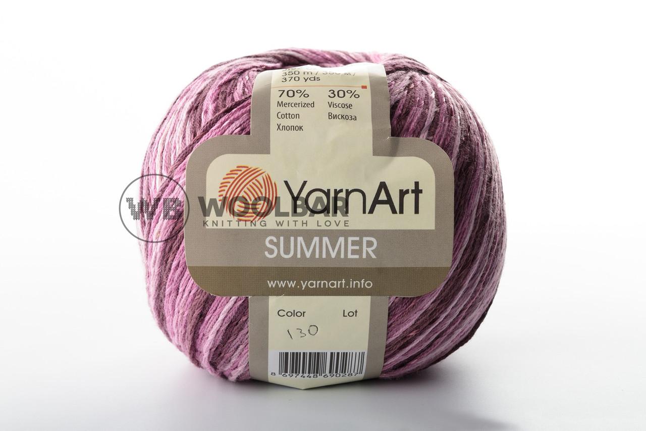 Пряжа YarnArt Summer 130 бело-розово-фиолетовый меланж