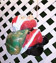 Новогодняя садовая фигура Дед Мороз на веревке, фото 2
