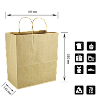 Бумажный Пакет Крафт с ручкой 305*145*350мм (Ш.Г.В) Пл 70г Нагр 7кг (688) , фото 1