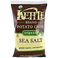 Kettle Foods, Органічні картопляні чіпси, морська сіль, 5 унцій (142 м)