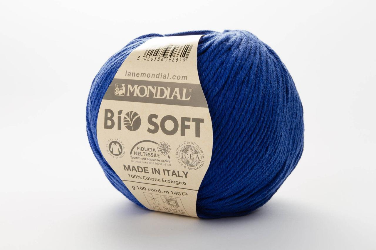 Пряжа Mondial Bio Soft 0738 синий электрик
