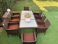 Комплект плетеной мебели на 8 персон из ротанга