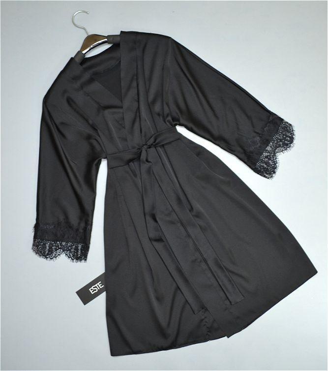 Халат женский черный шелк армани с кружевом.